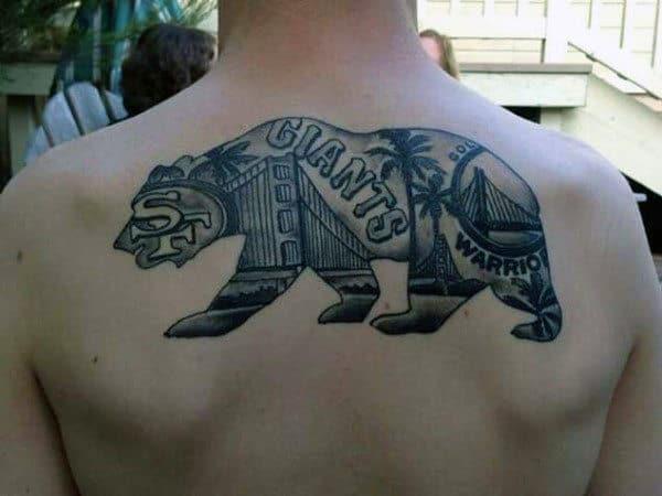 San Francisco California Bear Mens Upper Back Tattoo