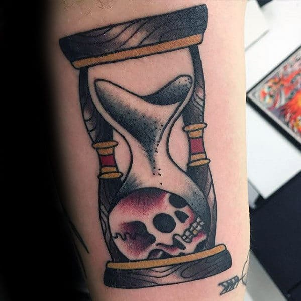 Sand And Skull Inside Hourglass Guys Traditional Inner Arm Bicep Tattoo