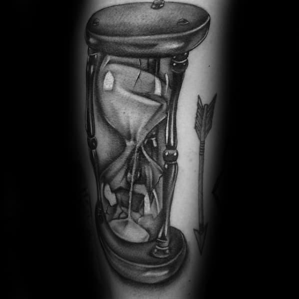 Sand Inside Broken Hourglass Mens Arm Tattoo