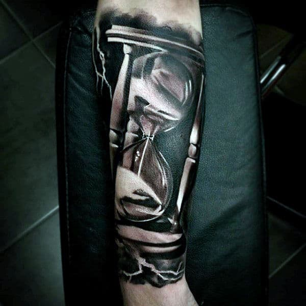 Sands Of Time 3d Mens Hourglass Tattoos