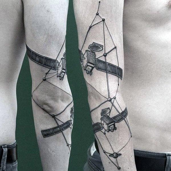 Satallite Constillation Mens Outer Arm Tattoo Design Inspiration