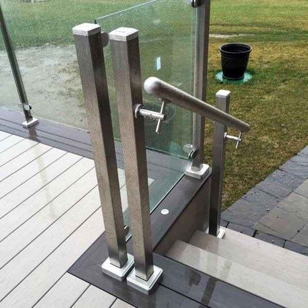 Satin Stainless Steel Posts With Glass Panels Deck Railing Design Idea Inspiration