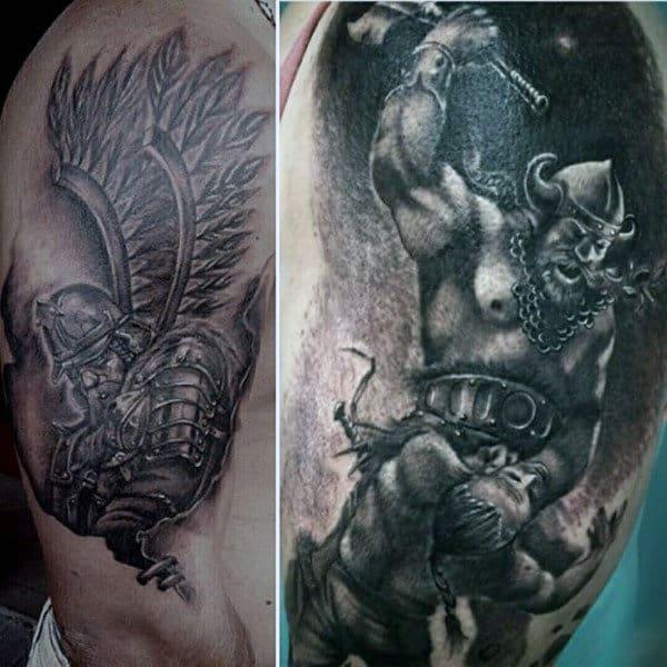 Savage Viking Warrior Tattoo Male Biceps