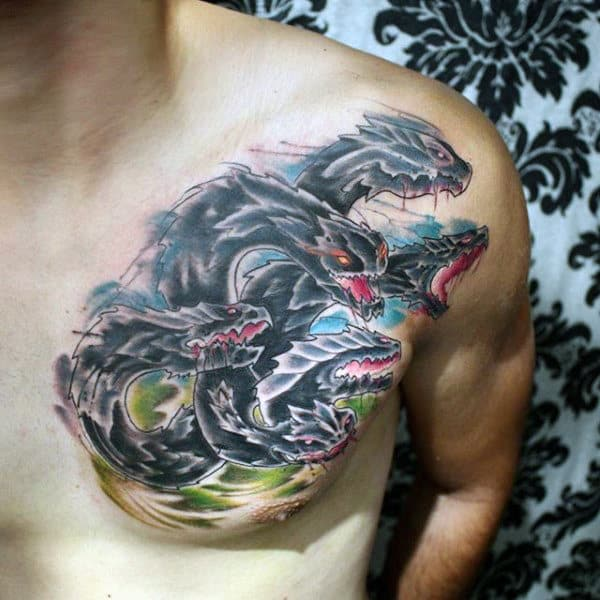 Savage Sea Serpent Watercolor Tattoo On Chest For Guys
