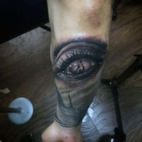 Save Me From Drowning Eye Tattoo Mens Forearms