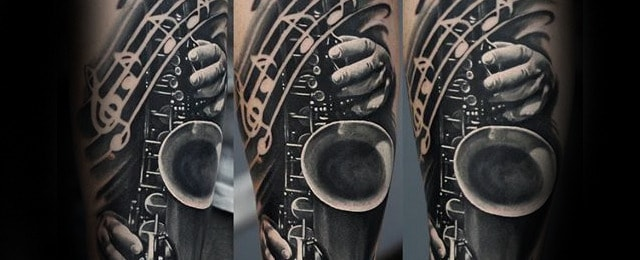 Saxophone Tattoo Designs For Men