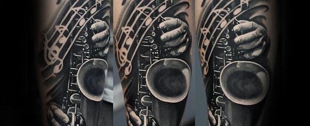 50 Saxophone Tattoo Designs For Men – Jazz Inspired Ink Ideas