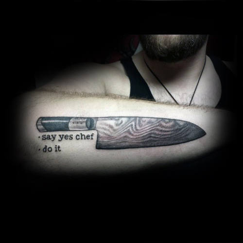 Say Yes Chef Mens Chef Knife Outer Forearm Tattoos