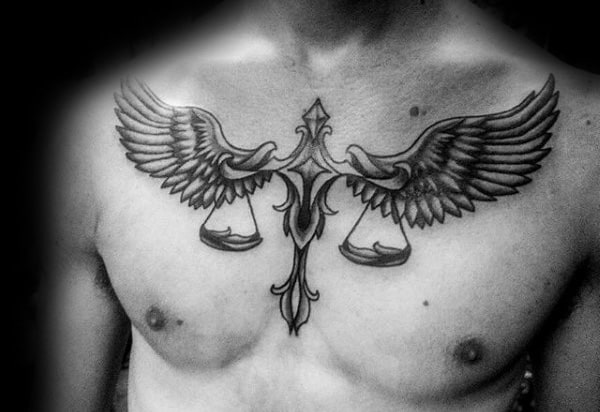 Scale With Angel Wings Mens Libra Upper Chest Tattoo Designs