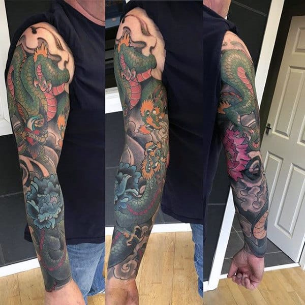 Scaly Dragon Japanese Sleeve Tattoo For Men
