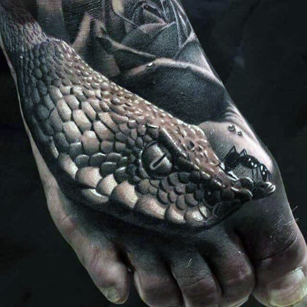 Scaly Greyish Fish Realism Tattoos Male Foot