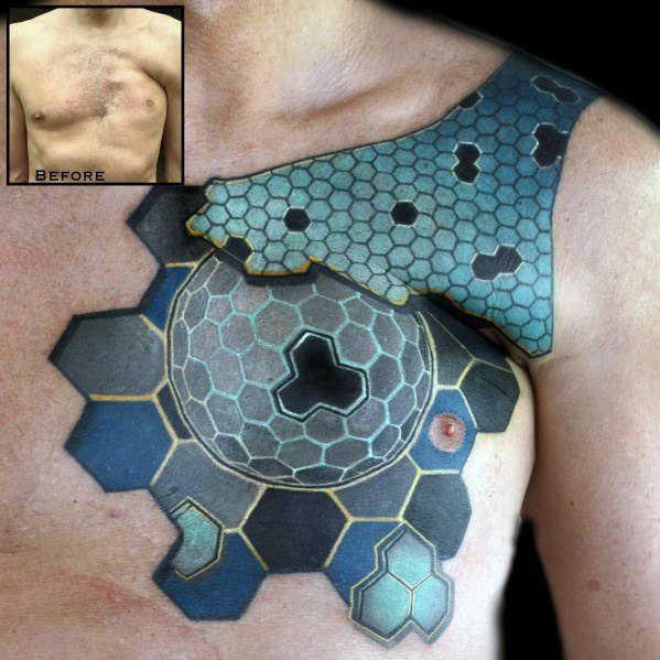 Scar Guys 3d Geometric Upper Chest Cover Up Tattoo Designs
