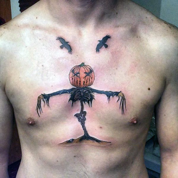 Scarecrow With Pumpkin Head Mens Chest Tattoo