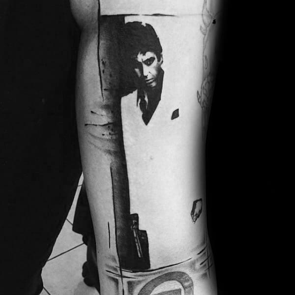 Scarface Film Cover Mens Arm Tattos