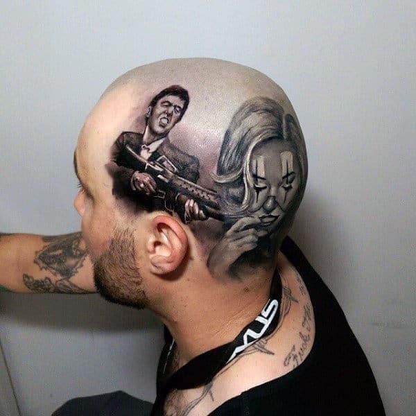 Scarface Mens Head Tattoo Designs