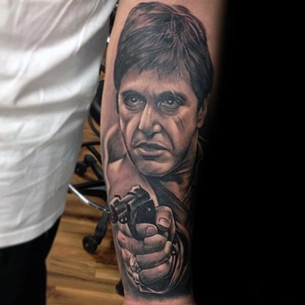 Scarface With Revolver Mens Inner Forearm Tattoo