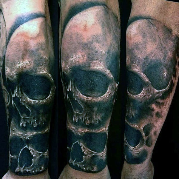 Scary Black And Grey Skull Tattoo Male Forearms