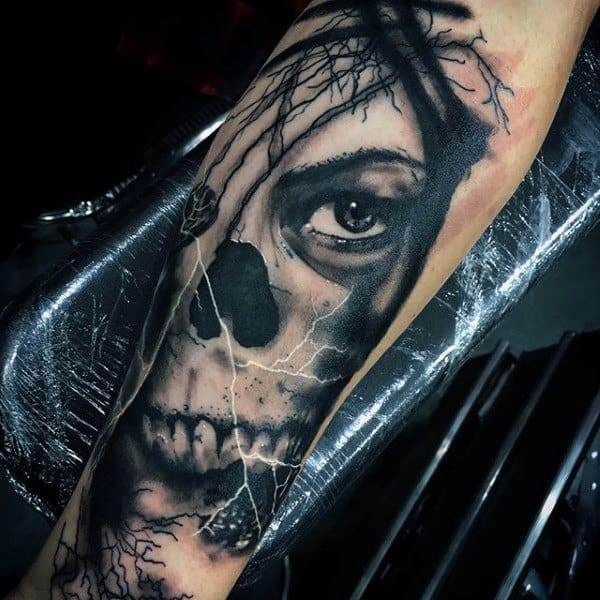Scary Ghoul Skull With One Eye Tattoo Male Forearm
