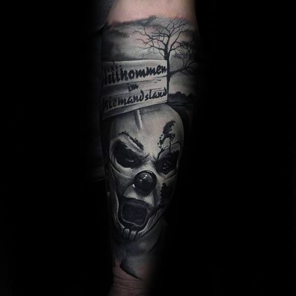 Scary Mens Clown White Ink Shaded Full Forearm Sleeve Tattoo Ideas