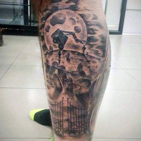 Scary Men's Graveyard Tattoos On Leg Calf