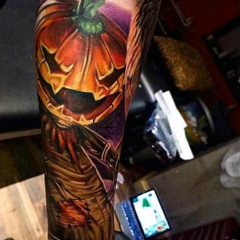 Scary Pumpkin Tattoos For Men On Forearm
