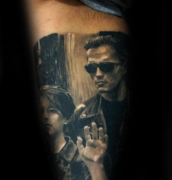Scene From Terminator Science Fiction Film Mens Arm Tattoos