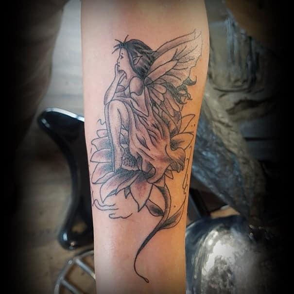 Schorndorf Black White Design Ink Fairy Tattoo