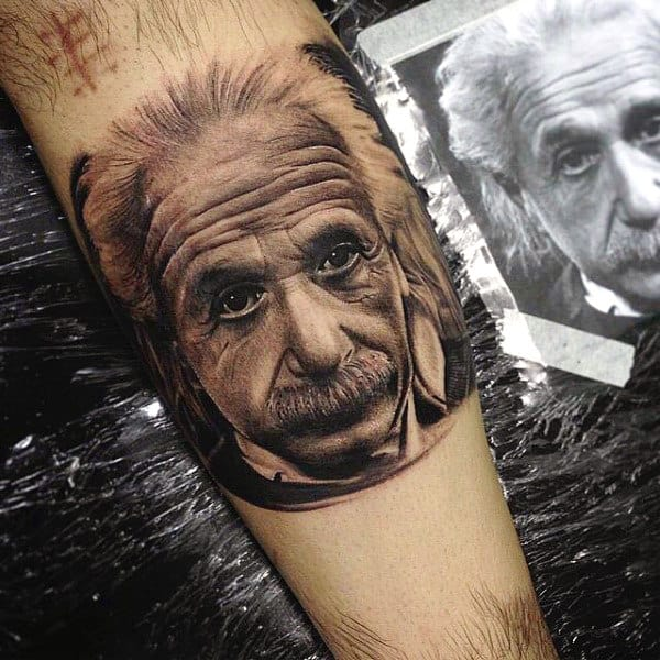 Science Einstein Tattoo For Males On Inner Forearm