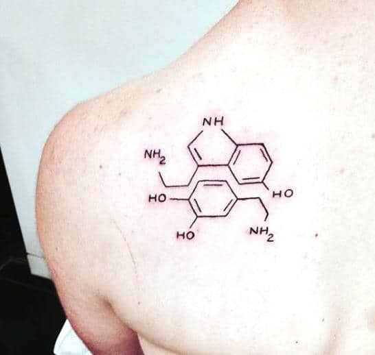 Scienence Tattoo Formula Of Happiness Chemistry Dopamine Seritonin On Mans Back