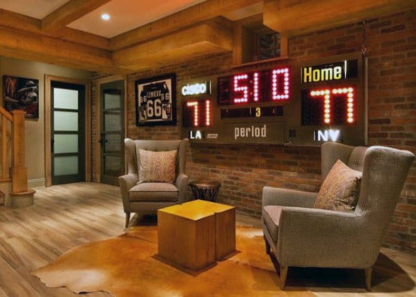 Scoreboard With Seating Lounge Mens Basement Man Cave