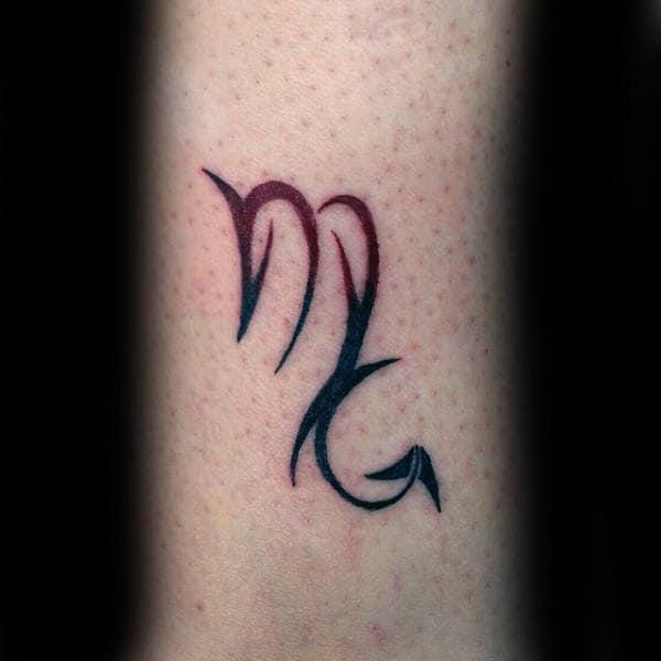 Scorpio Symbol Mens Red And Black Ink Small Tattoos