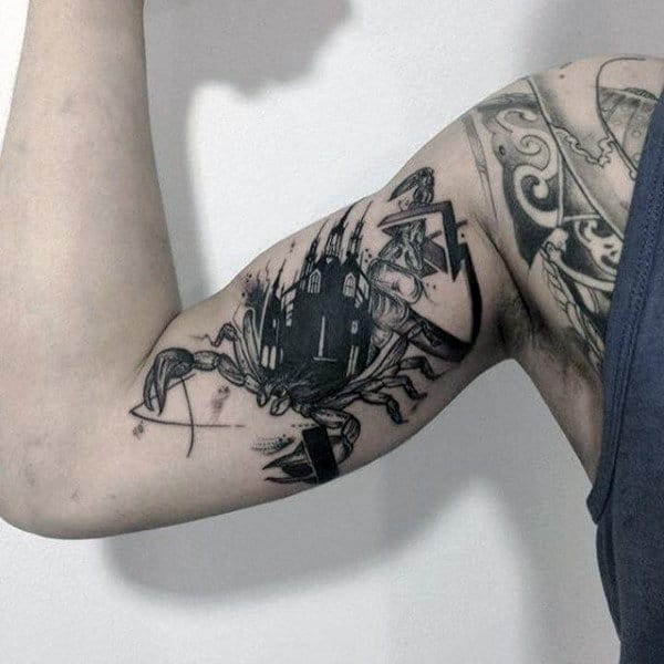 Scorpion Bicep Mens Castle Tattoo