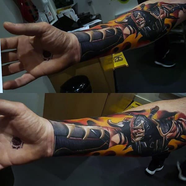 Scorpion Video Game Mortal Kombat Male 3d Tattoos On Wrist