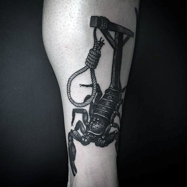 Scorpion With Hanging Rope Tattoo On Calves For Guys