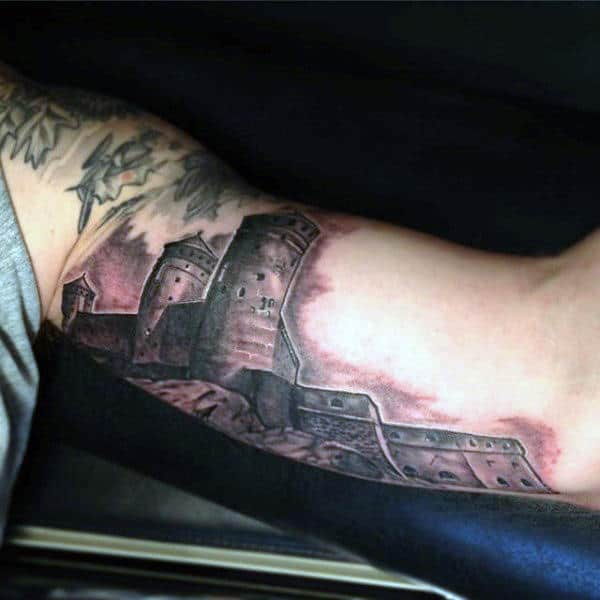 Scottish Castle Bicep Tattoo On Man