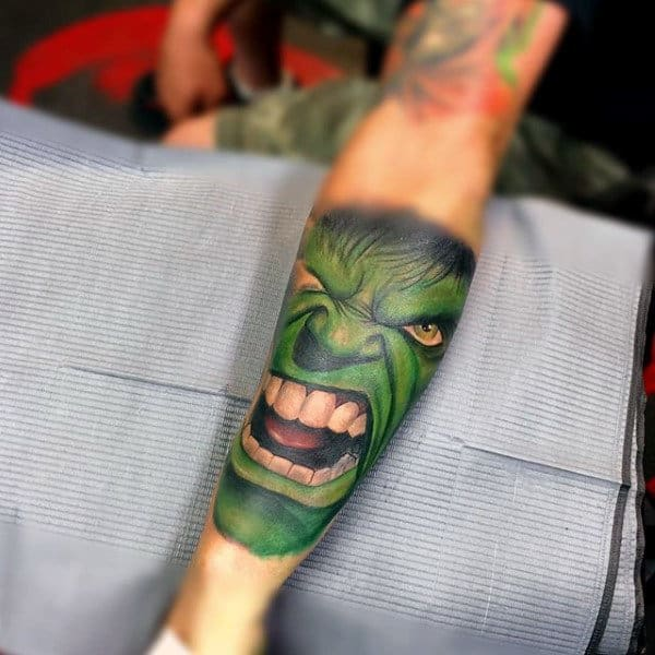 Screaming Hulk Tattoo Male Forearms