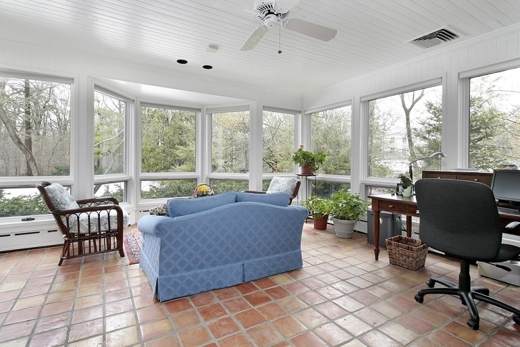 Screened In Sun Porch With Spanish Tile