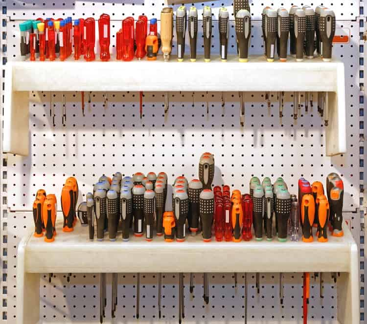 Screwdrivers Hand Tools Garage Pegboard Ideas