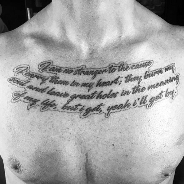 Scrip Cursive Chest Quote Tattoo Ideas For Males
