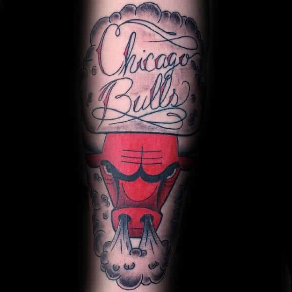 Script Chicago Bulls Male Forearm Tattoo Inspiration