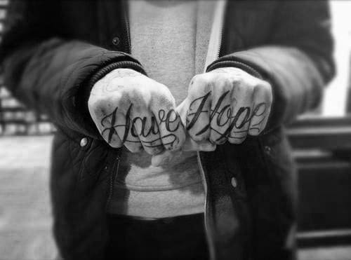 Script Finger Tattoos For Men Have Hope Design