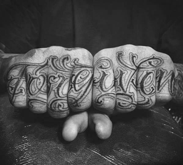Script Forgiven Guys Ornate Lettering Knuckle And Finger Tattoos