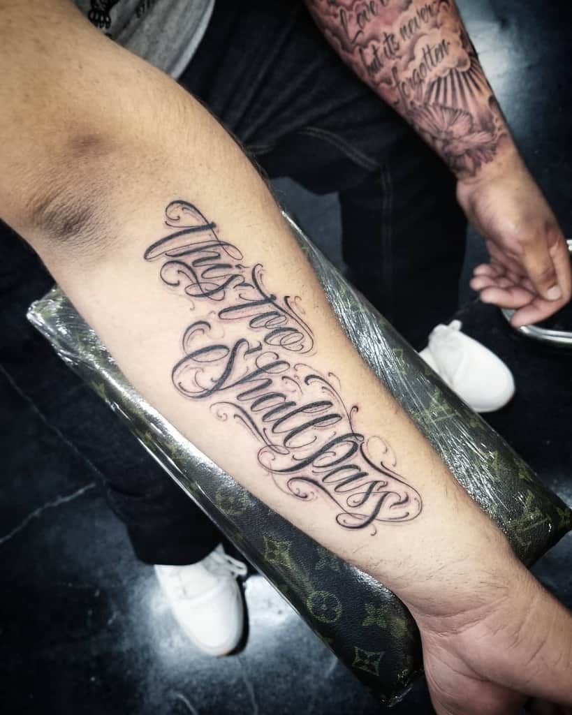 Script Lettering This Too Shall Pass Tattoo