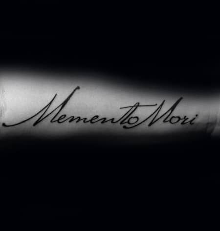 Script Memento Mori Cursive Male Words Forearm Tattoo