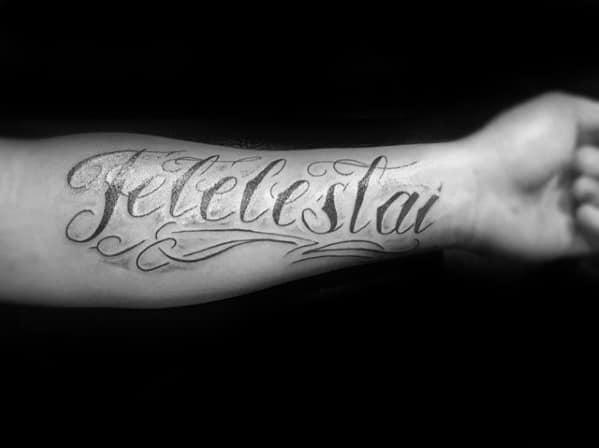 Script Ornate Tetelestai Mens Inner Forearm Tattoo Ideas