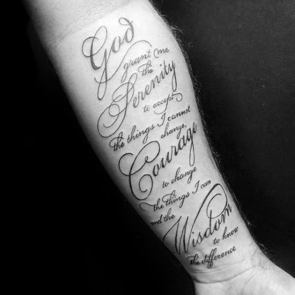 50 Serenity Prayer Tattoo Designs For Men