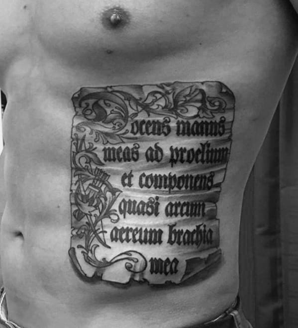 Scroll Paper Mens Rib Quote Tattoo