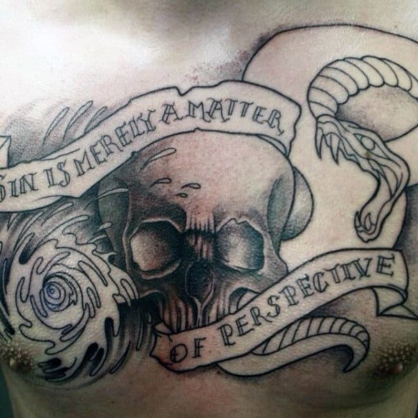 Scroll With Skull And Snake Mens Shaded Chest Tattoos
