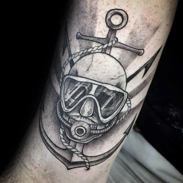 Scuba Diver Mens Memorial Anchor Arm Tattoos