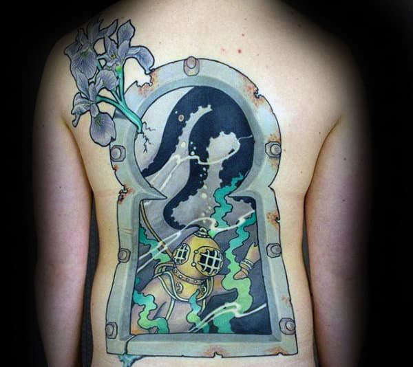 Scuba Diver Window Mens Underwate Keyhole Back Tattoos